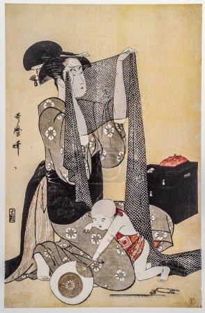 Kitagawa Utamaro. Traditional japanese engraving ukiyo-e.