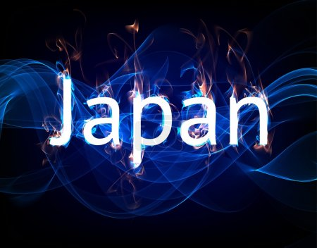 Photo for Japan with abstract water and fire for tragedy design. - Royalty Free Image