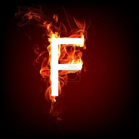 Fonte Fiery pour la conception de la flamme chaude. Lettre F