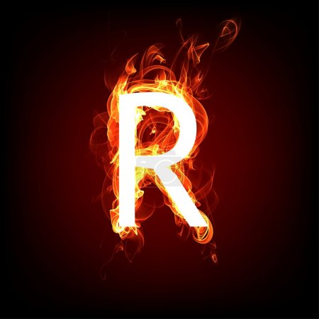 feurige Schrift für heißes Flammendesign. Buchstabe r
