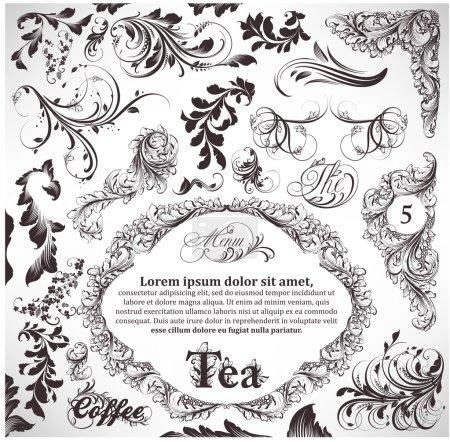 Illustration pour Set vectoriel : éléments de design calligraphique et décoration de page - image libre de droit