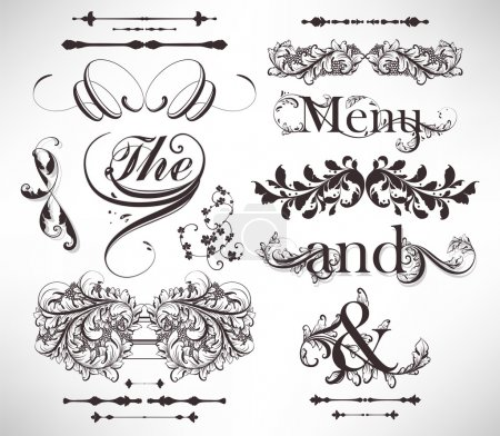 Illustration for Vector set: calligraphic design elements and page decoration - lots of useful elements to embellish your layout, detailed antique and baroque frames with retro flowers and floral borders - Royalty Free Image
