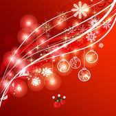 červeném pozadí elegantní vánoční ozdoby