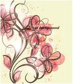 Ručně tažené květinové pozadí s květinami, pozdrav vektorové kartu pro retro design
