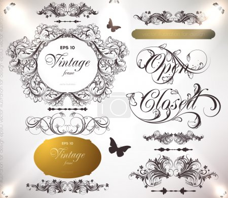 Illustration for Vector set: calligraphic design elements and page decoration - Royalty Free Image