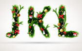 J k and l letters vector christmas tree font