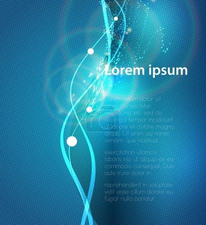 Illustration pour Illustration vectorielle du fond abstrait bleu avec des lignes courbes de lumière magique floue - image libre de droit