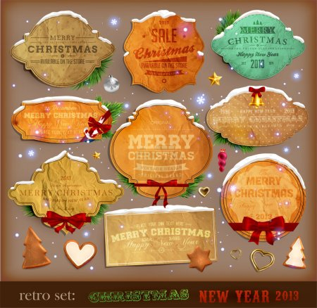 Photo for Set of vector Christmas ribbons, old dirty paper textures and vintage new year labels. Elements for Xmas design: stickers, ribbons, gifts, fur tree branches, balls, candles and curled papers. - Royalty Free Image