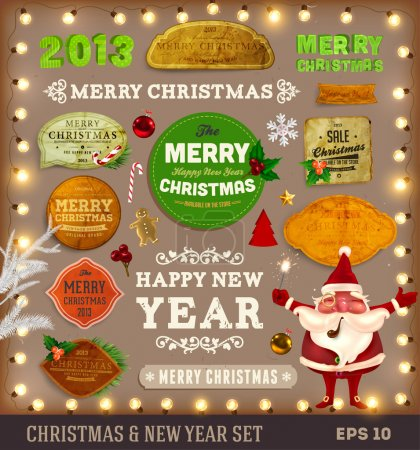 Set of vector Christmas ribbons, old dirty paper textures and vintage new year labels.