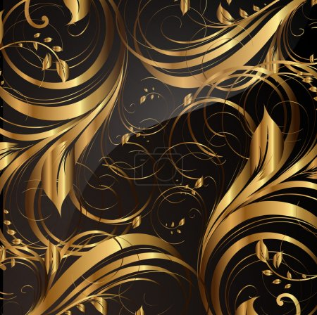 Illustration for Seamless wallpaper pattern gold, vector - Royalty Free Image