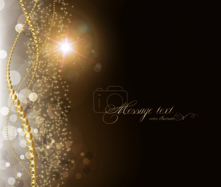 Elegant magic golden background with place for text invitation. with stars, sun shine and sparks