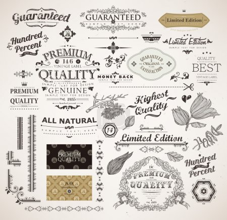 Illustration for Vector set: calligraphic design elements, flowers and retro frames, Premium Quality and Satisfaction Guarantee vintage design Labels. Old style, vector collection. - Royalty Free Image