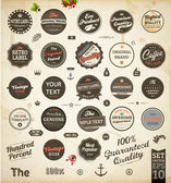 Set of Premium Quality and Guarantee Labels with retro vintage styled design dirty and rusty texture vector