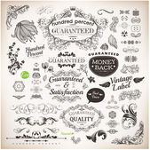 Vector set: calligraphic design elements and page decoration Premium Quality Seafarers and Satisfaction Guarantee Label collection with black grungy design and flowers