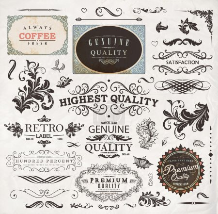 Illustration for Old style Coffee frames and labels. Retro floral ornaments. Vintage ribbons, borders and other elements collection for Coffee design. eps10 vector set - Royalty Free Image
