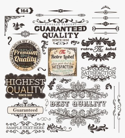 Photo for Vector set: calligraphic design elements and page decoration, Premium Quality, Seafarers and Satisfaction Guarantee Label collection with black grungy design and flowers - Royalty Free Image