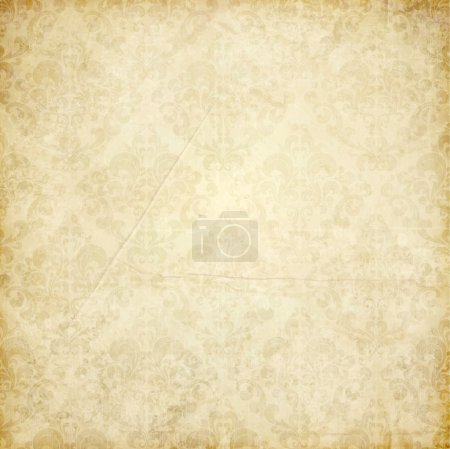 Illustration for Elegant damask background with classical wallpaper pattern, slightly grungy texture and light effects - Royalty Free Image