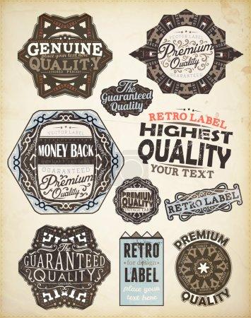 Ilustración de Conjunto de elementos de diseño caligráfico del vector: Página decoración, calidad, textura de papel genuinos y de alta calidad las etiquetas viejas con huellas sucias de una taza de café. - Imagen libre de derechos