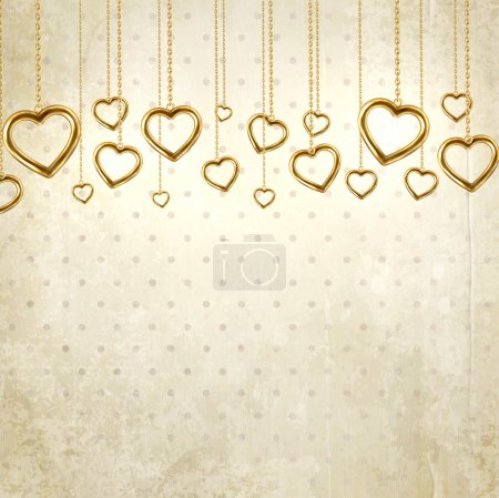Golden hearts for wedding or Valentines day design