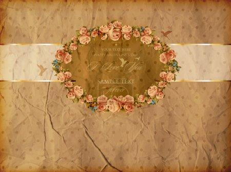 Ilustración de Conjunto de vectores: etiquetas de la vendimia con flores - Imagen libre de derechos