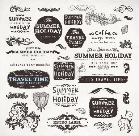 Calligraphic elements and page decoration, Summer Holiday and Travel Time Label collection with black grungy design for old style design. Eps10 vector set.