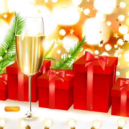 Elegant Christmas background with red gifts, firtree branches and glass of champagne