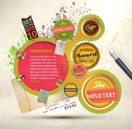 Photo for Vintage Web design template with labels, paper elements, stickers and paint drops. Eps 10 vector Illustration. Old paper texture, retro style. - Royalty Free Image