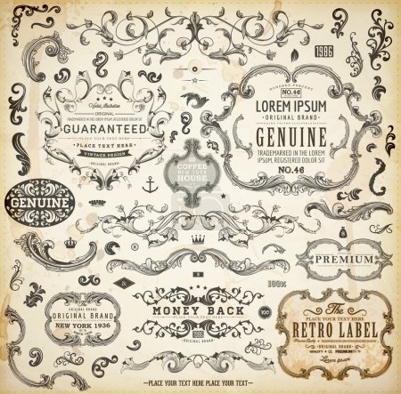 Photo pour Eléments de design calligraphique, décoration de page, étiquettes rétro et cadres pour design vintage Texture grunge vieux papier - image libre de droit