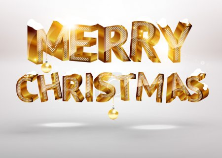 Illustration for Merry Christmas golden 3d text for holiday design with balls - Royalty Free Image