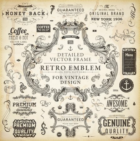 Calligraphic design elements, page decoration, retro labels and frames set for vintage design Old paper grunge texture