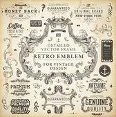 Calligraphic design elements page decoration retro labels and frames set for vintage design Old paper grunge texture
