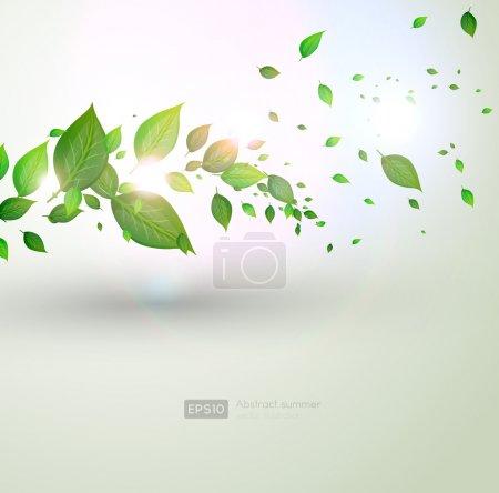 Sommerzweig mit frischen grünen Blättern