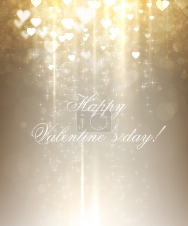 Illustration for Shiny hearts bokeh light Valentine's day background - Royalty Free Image