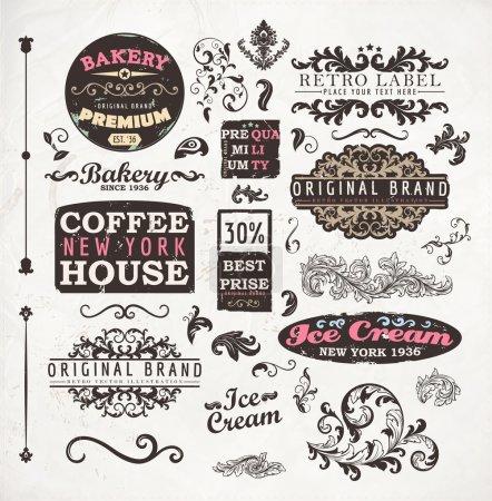 Vintage-Retro-Bäckereiplaketten, Kaffeehaus- und Eisetiketten, Sammlung alter Seitenelemente