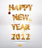 Happy New Year 2012 3d golden text with balls and snow