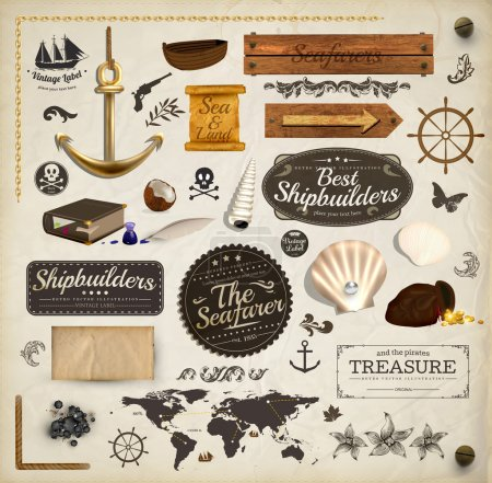 Photo for Scrapbooking kit: marine holiday elements collection. Ship, map, moorings, seashells with pearl and wood banners set. Old paper texture and retro frames. - Royalty Free Image