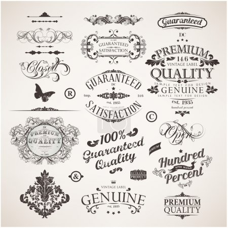 Vector set: calligraphic design elements, flowers ...