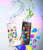 Aluminum cans with liquid and colorful background