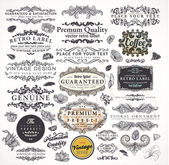 Vector set calligraphic design elements engraving flowers and retro frames Premium Quality and Satisfaction Guarantee vintage design Labels Old style vector collection