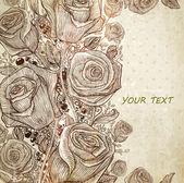 Stylish floral background retro engraving flowers for vintage design