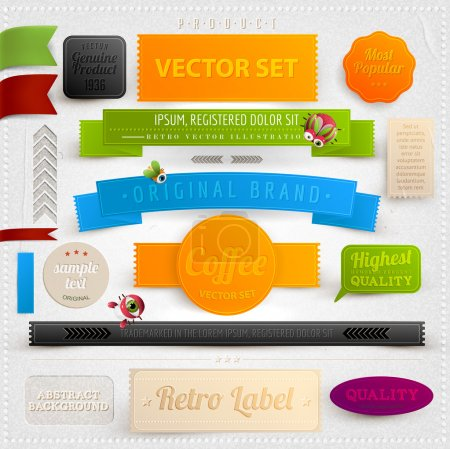 Set of retro ribbons, labels and beetles. Vector illustration.