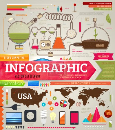 Photo for Set of infographics for design with chemical and medical elements, phones, lamps and world and USA maps - Royalty Free Image