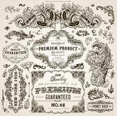 Vektorové sada prvků návrhu kaligrafické: dekorace, prvotřídní kvality a spokojenosti záruka Label, starožitné a barokní rámečky a květinové ornamenty stránky