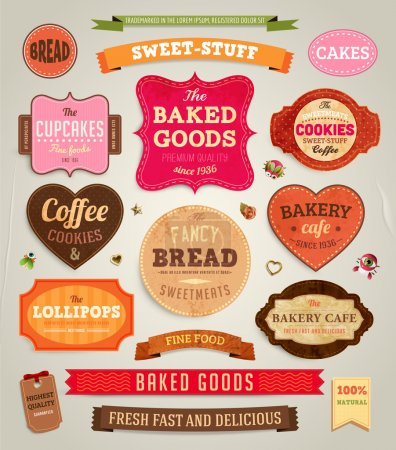 Photo for Set of retro bakery labels, ribbons and cards for vintage design, old paper textures - Royalty Free Image
