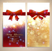 Xmas greeting cards with red bows and glow snowflakes for Christmas design Vector illustration