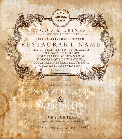 Photo for Restaurant label design with old floral frame for vintage menu design - Royalty Free Image