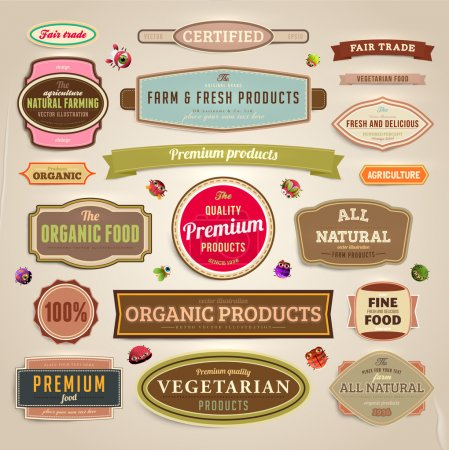 Illustration for Set of vector labels, banners and ribbons for organic, fresh and farm products design, paper texture - Royalty Free Image