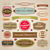Set of vector labels banners and ribbons for organic fresh and farm products design paper texture