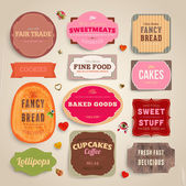 Set of retro bakery and coffee labels ribbons and cards for vintage design old paper textures