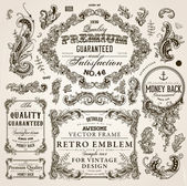 Vector set of calligraphic design elements: page decoration Premium Quality and Satisfaction Guarantee Label antique and baroque frames and floral ornaments